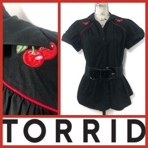 Torrid Embroidered Cherries Fitted Shirt